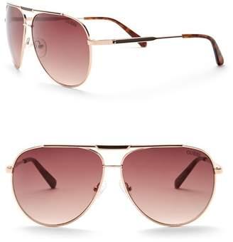 GUESS Aviator 62mm Sunglasses