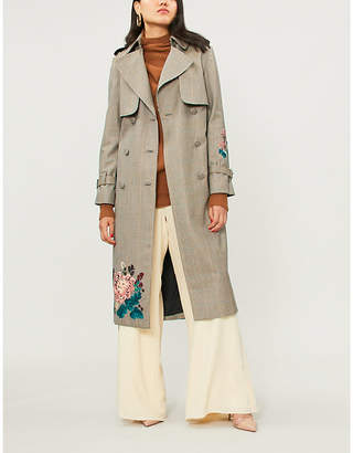 Erdem Maurice floral-embroidered checked wool trench coat