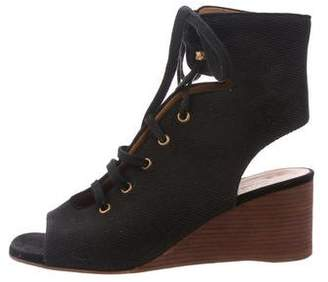 Chloé Canvas Lace-Up Wedges