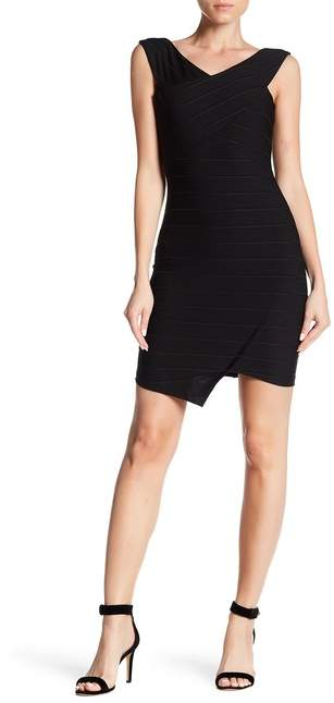 bebe Surplice Neck Textured Dress