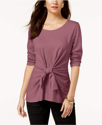 Style&Co. Style & Co Tie-Front 3/4-Sleeve Top, Created for Macy's
