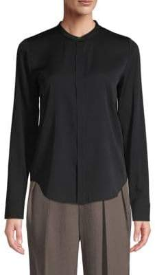 Vince Band Collar Stretch Silk Blouse