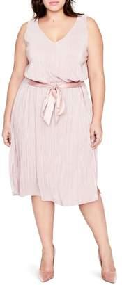 Rachel Roy Belted Metallic Pleated Blouson Dress