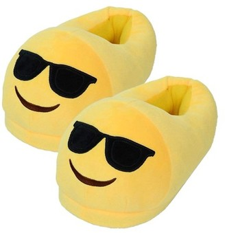 JuJu Smiling Emoji Sunglasses Slippers Comfortable Indoor Shoe For Big Kids & Women With Non-Skid Indoor Slippers (US Seller)