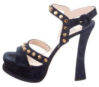 Prada Suede Studded Sandals
