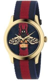 Gucci Bee Goldtone Stainless Steel and Striped Nylon Strap Watch