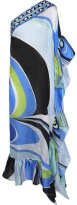 Emilio Pucci One-Shoulder Ruffle-Trimmed Printed Silk-Satin Coverup