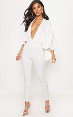 PrettyLittleThing White Plunge Cape Jumpsuit