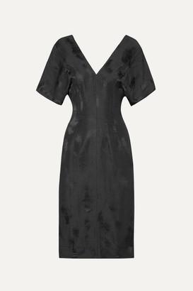Bassike Linen-blend Jacquard Midi Dress - Black