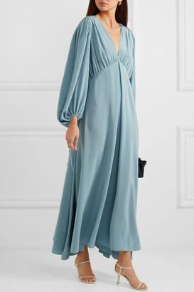 The Row Sante Gathered Silk Crepe De Chine Maxi Dress - Blue