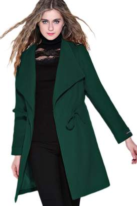 Sevozimda Women Casual Solid Oversize Collar Waistband Corset OL Winter Trenchcoat Outwear M