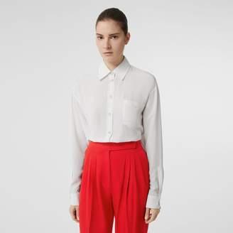 Burberry Press-stud Silk Crepe De Chine Shirt