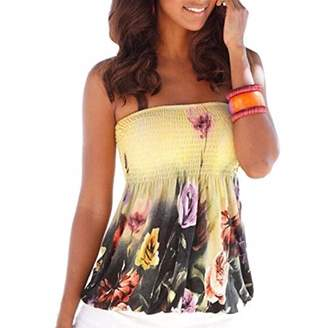 Qiyun Lady Women Sexy Strapless Tube-Tops Floral Print Tank Tops Blouses
