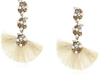 Badgley Mischka Triple Crystal and Pearl Drop Earrings