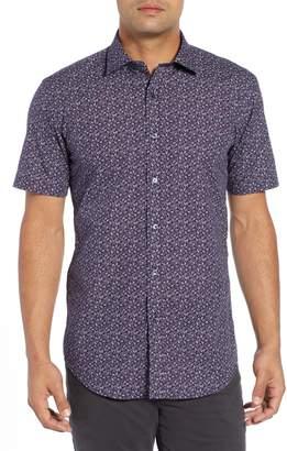 Bugatchi Shaped Fit Beach Print Sport Shirt
