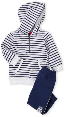 Tommy Hilfiger Newborn Boys) Two-Piece Striped Hoodie & Jogger Set