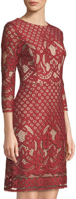Gabby Skye 3/4-Sleeve Placement-Lace Dress