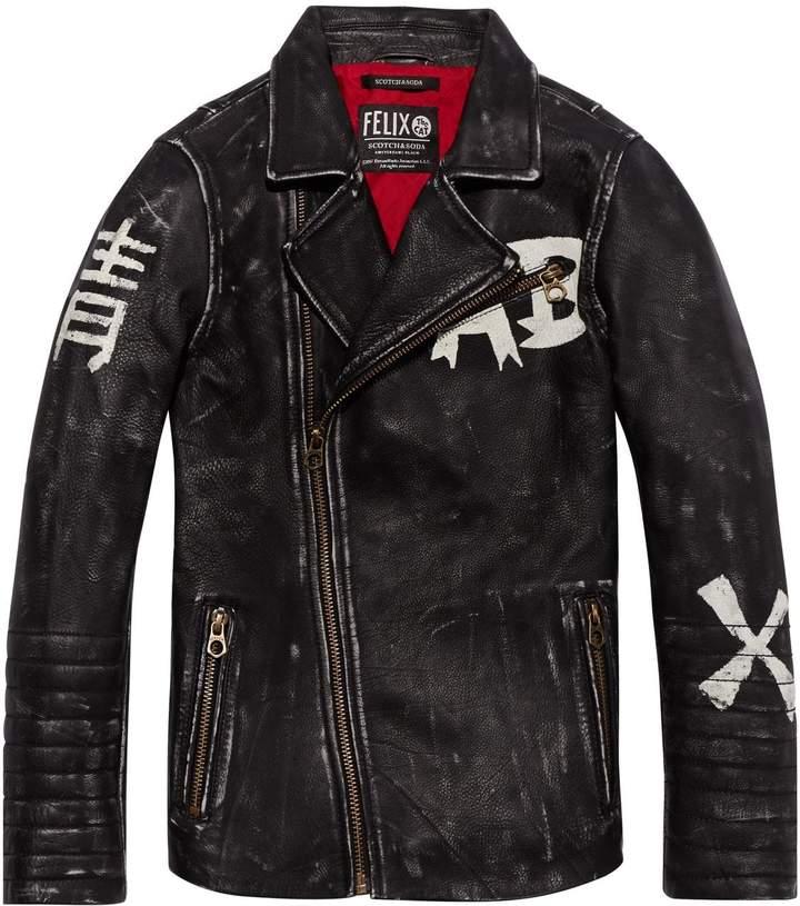 Leather Biker Jacket Felix the Cat