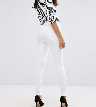 Asos Tall DESIGN Tall Ridley high waist skinny jeans in optic white