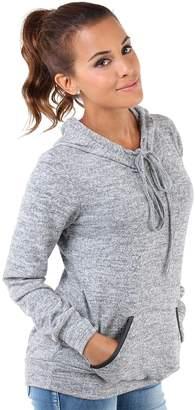 KRISP 7270-KHA-L: PU Trim Pocket Knitted Hoodie