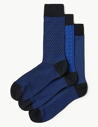 M&S Collection Luxury 3 Pack Cotton Rich Socks