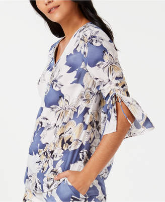 JM Collection Printed Zip-Neck Ruched-Sleeve Blouse