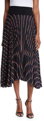 A.L.C. Henry Striped Pleated Midi Skirt