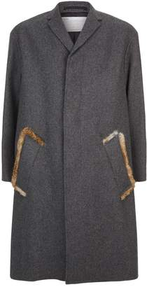 Kolor Rabbit Fur Trim Coat