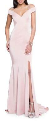 Terani Couture Glamour by Off-The-Shoulder Beaded Gown