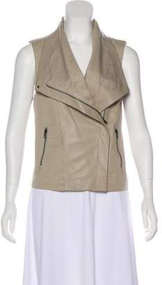 Vince Leather-Accented Zip-Up Vest