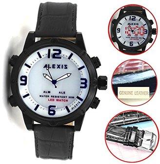 Alexis ブラック時計ケースLEDバックライトWater Resistメンズレディースアナログデジタル腕時計