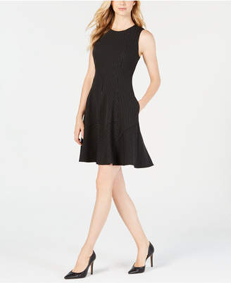 Anne Klein Pinstriped Fit & Flare Dress
