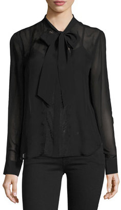 Equipment Leema Tie-Neck Blouse, Black $238 thestylecure.com