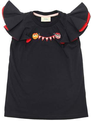 Fendi Pompoms Cotton Jersey T-Shirt W/ Ruffles