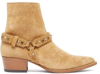 Studded Harness Suede Boots - Mens - Brown