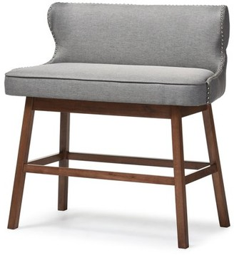 Baxton Studio Gradisca Gray Fabric Upholstered Bar Bench Banquette