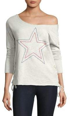 Sundry Star Lace-Up Sweater