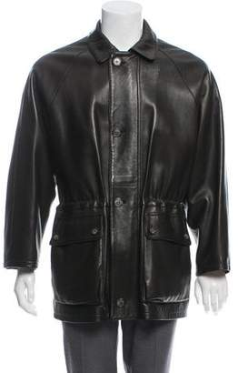 Loro Piana Cashmere-Lined Leather Zip-Up Jacket