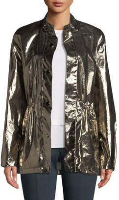 St. John Laminated Metallic Outerwear Jacket
