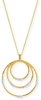 Gurhan 22k Gold Delicate Geo Round Pendant Necklace w/ Diamonds, 18""