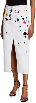 Oscar de la Renta Denim Midi Skirt w/ Rainbow Splatter Embellishments