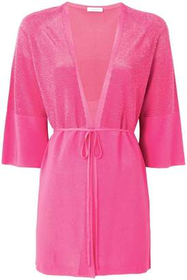 Cruciani cropped sleeve tie front cardigan