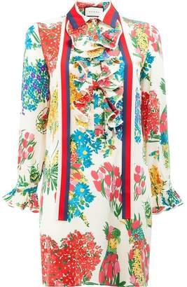 Gucci floral print ruffle trim shirt dress