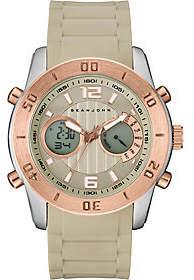 Sean John Men's Analog Digital Beige Silicone Watch