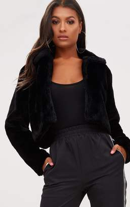 PrettyLittleThing Black Cropped Faux Fur Coat