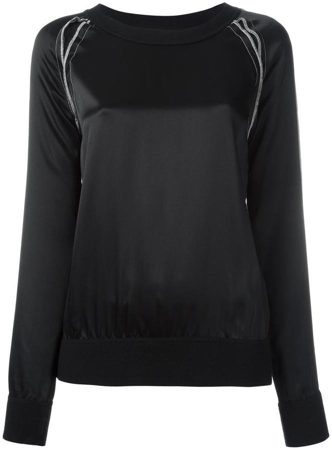 DKNY exposed seam satin sweatshirt