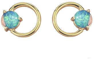 WWAKE Large Opal Circle Stud Earrings