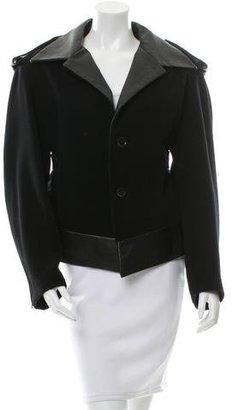 Yohji Yamamoto Leather-Trimmed Long Sleeve Jacket w/ Tags $895 thestylecure.com