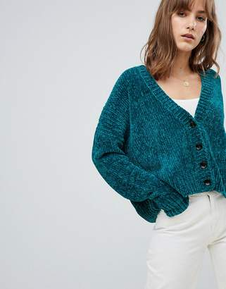Asos (エイソス) - Asos Design ASOS DESIGN Cropped Cardigan In Chenille With Buttons