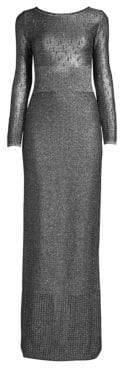 St. John Metallic Plaited Mixed Knit Gown